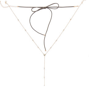 Rose Gold Tie Choker Multi Strand Necklace - Gray,