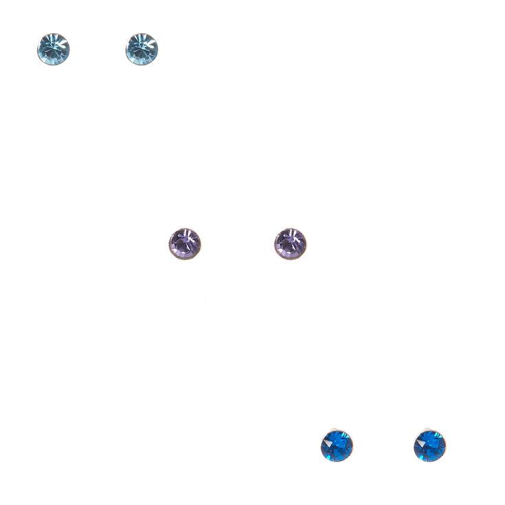 3 Pack Sterling Silver Crystal Blue Earrings,