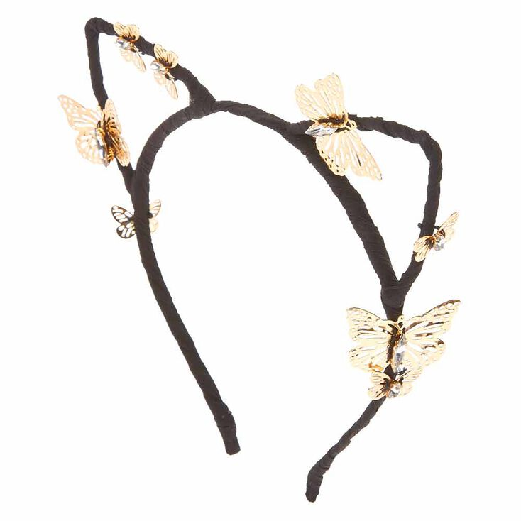 Black Cat Ears with Gold Butterflies Headband,