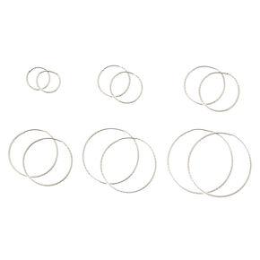 Silver Tone Graduated Laser Cut  Hoop Earrings,