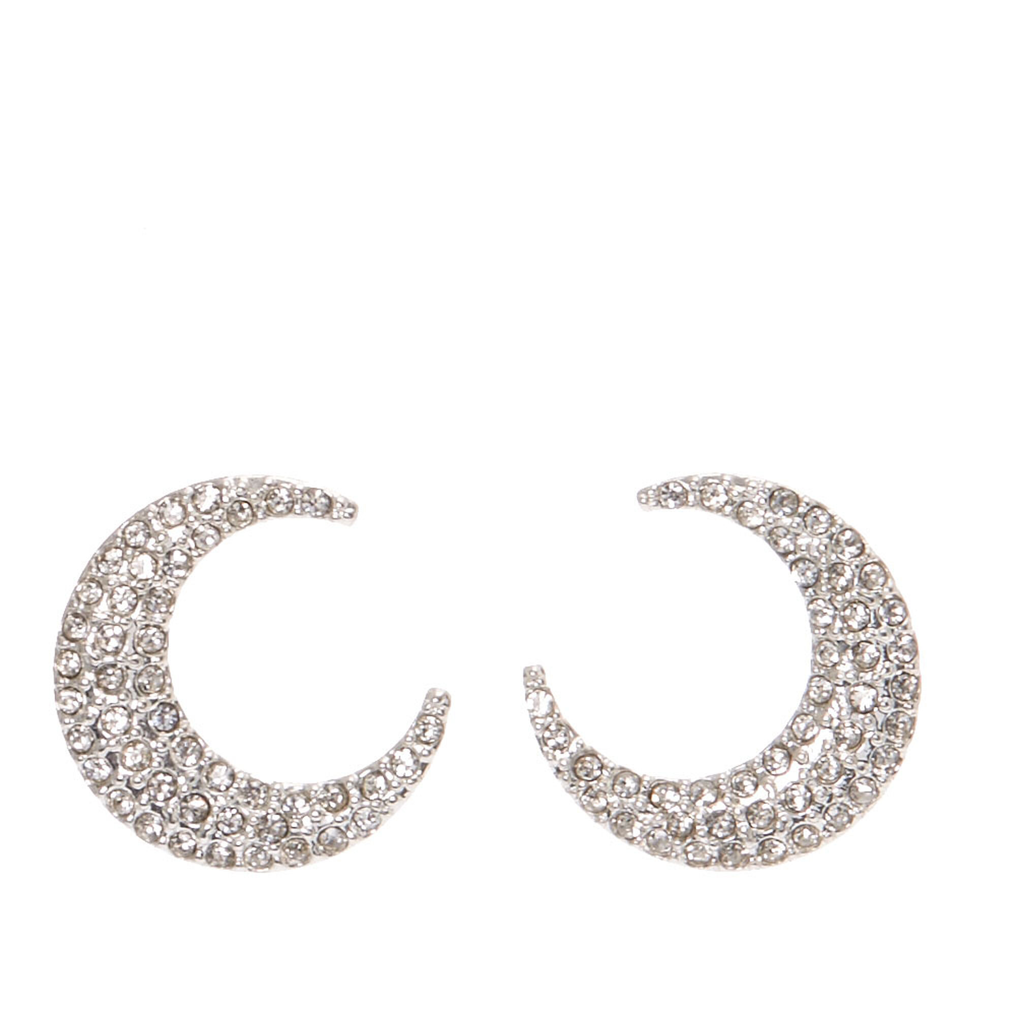 pav icing moon stud us pave tone crescent silver earrings