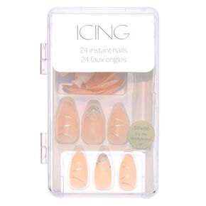Ribbon Curl Faux Nail Set - Nude, 24 Pack,