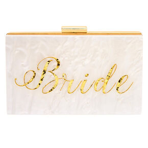 Bride Acrylic Clutch Purse - White,