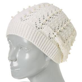 White Faux Pearl Crochet Beanie,