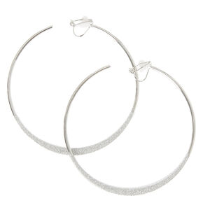 Silver Glitter Knife Edge Clip-on Hoop Earrings,