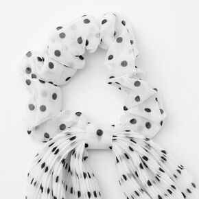 Small Polka Dot Pleated Scarf Hair Scrunchie - White,