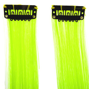 Faux Hair Clip In Extensions - Neon Yellow, 2 Pack,