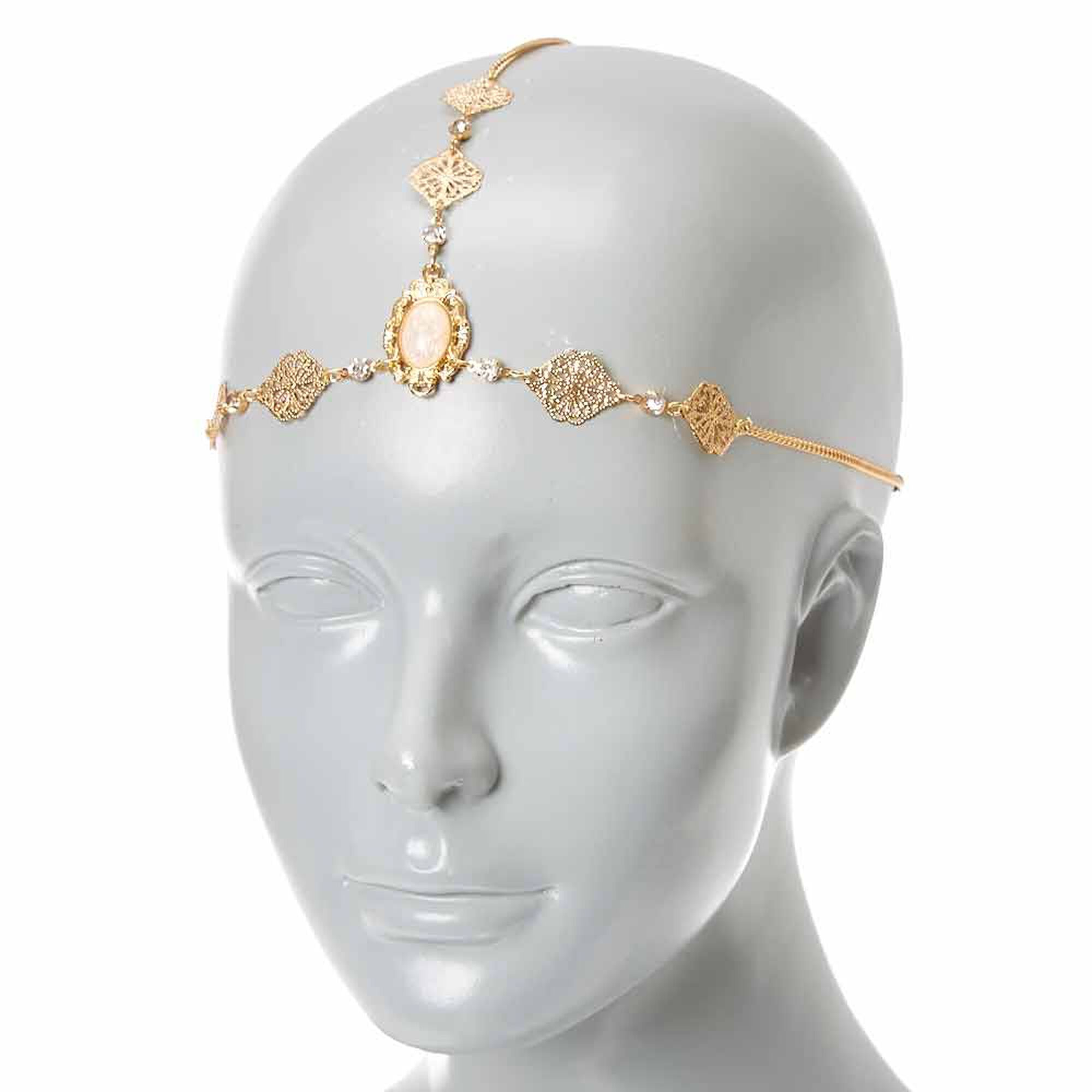 product medallion necklace crown img long goldtone vintage oval chanel pearl faux