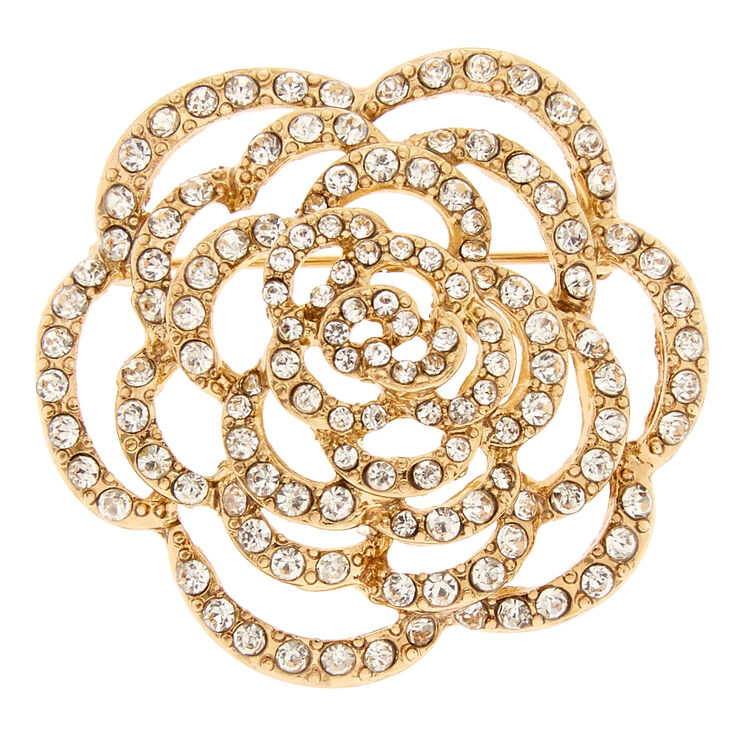 Gold Tone & Faux Crystal Rose Brooch Pin,