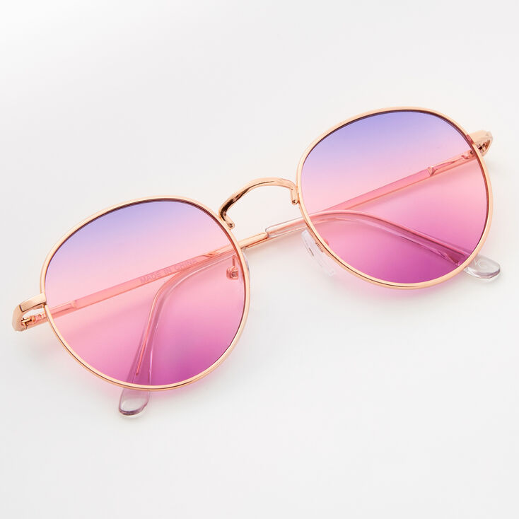 Faded Round Sunglasses - Purple,