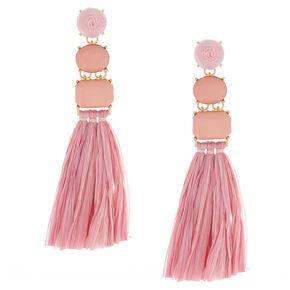 Raffia Drop Earrings - Pink,