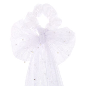 Small Bridal Veil Hair Scrunchie - White,