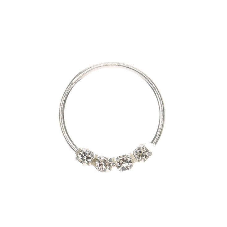 Sterling Silver Clear Stone Nose Ring,