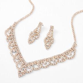 Rose Gold Glass Rhinestone Round Scalloped Jewelry Set - 2 Pack,