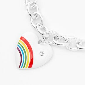 Silver Rainbow Heart Charm Chain Bracelet,