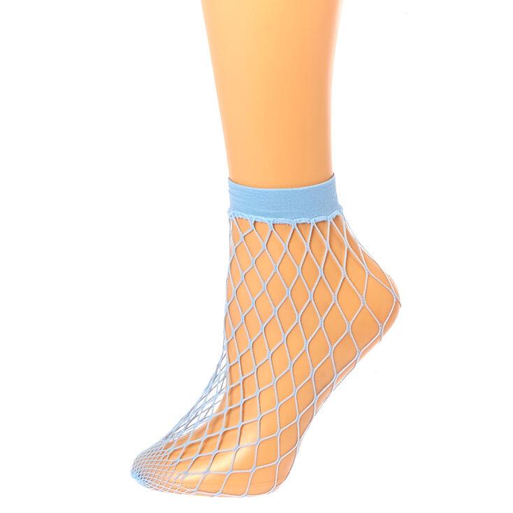 Blue Fishnet Ankle Socks,