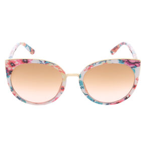 Round Floral Print Sunglasses - White,