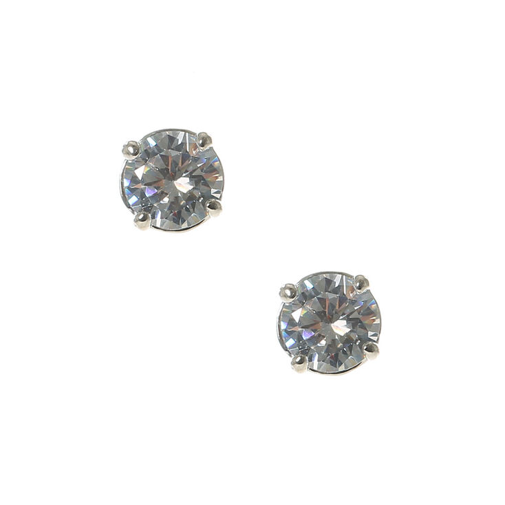 6MM Cubic Zirconia Stud Earrings,