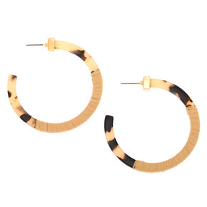 55MM Resin Tortoiseshell & Raffia Hoop Earrings,