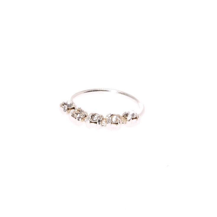925 Sterling Silver Helix Crystal Hoop,