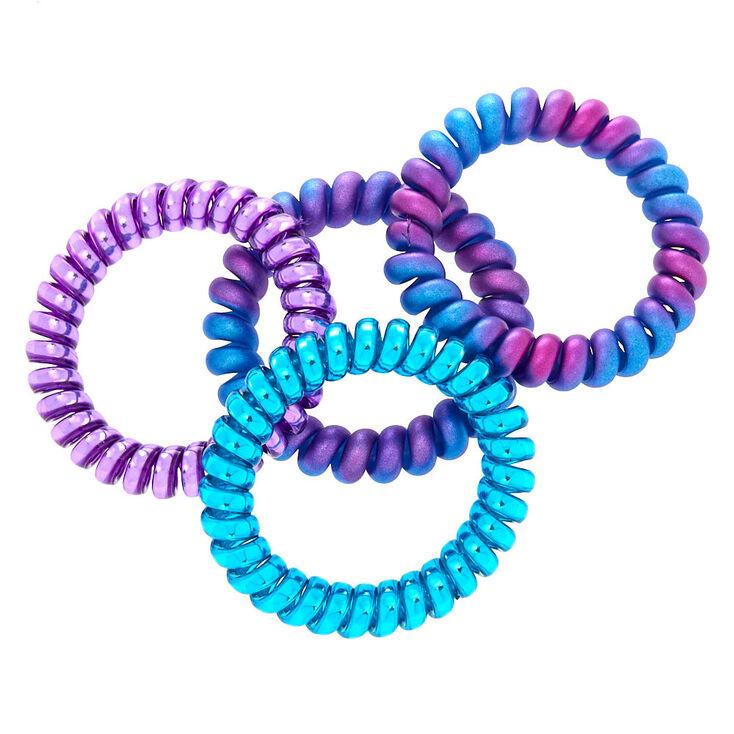 Mermaid Coil Hair Ties - Purple, 4 Pack,