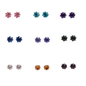 Colored Mini Crystal Stud Earrings,