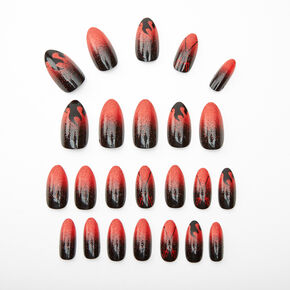 Devil Flames Stiletto Faux Nail Set - Red, 24 Pack,