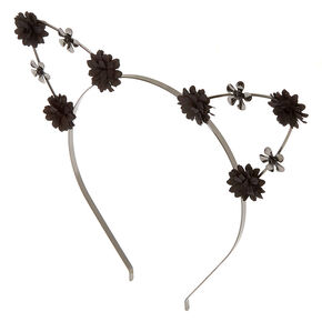 Hematite Flower Girl Cat Ears Headband - Black,
