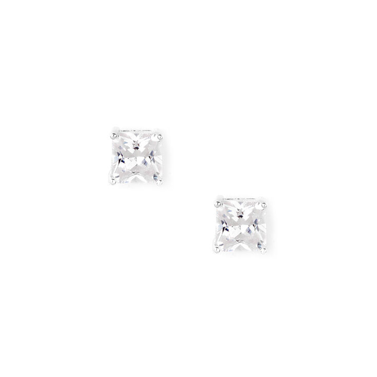 8MM Cubic Zirconia Square Cut Four Prong Set Stud Earrings,