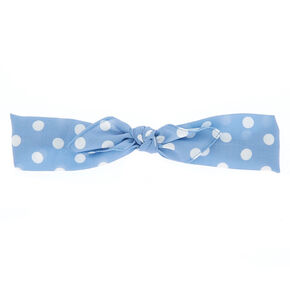 Polka Dot Bow Headwrap - Blue,