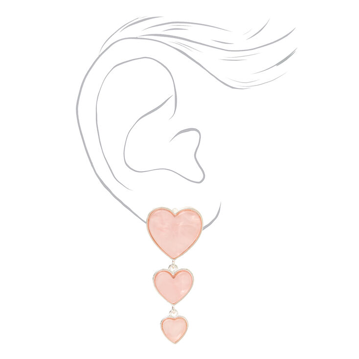 """Silver 2"""" Pink Quartz Heart Drop Earrings,"""
