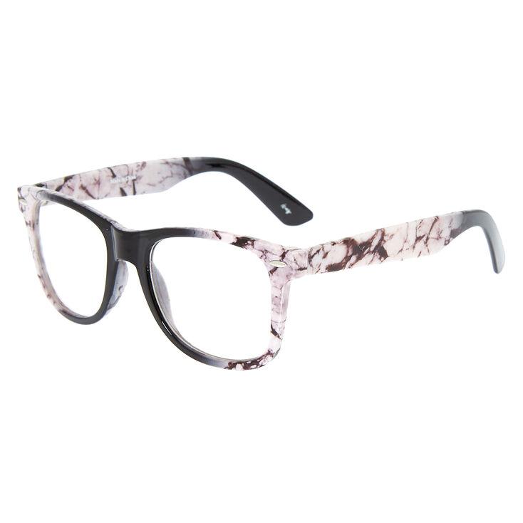 Marbled Retro Clear Lens Frames - White,