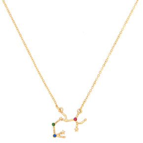 Gold Zodiac Constellation Pendant Necklace - Sagittarius,