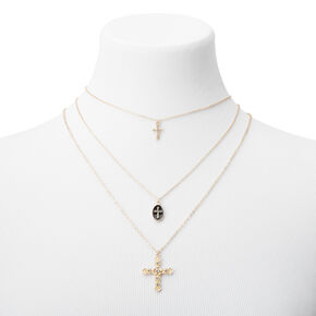 Gold Cross Trio Multi Strand Necklace,