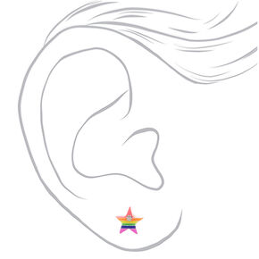 Sterling Silver Rainbow Stud Earrings - 3 Pack,