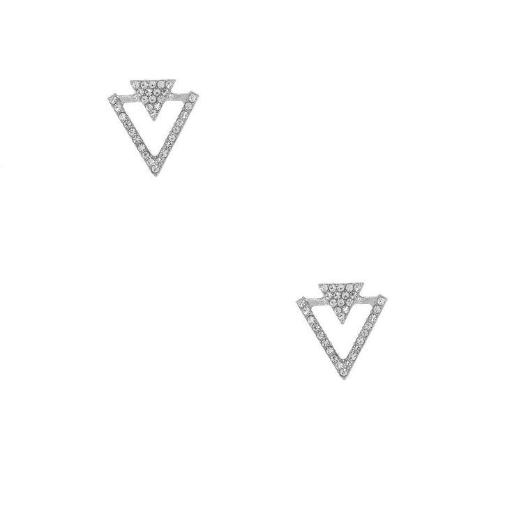 Silver Crystal Double Triangle Stud Earrings,