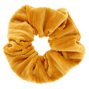 Medium Ribbed Velvet Hair Scrunchie - Mustard,