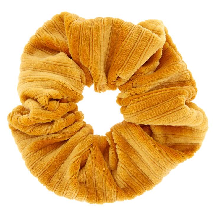 Ribbed Velvet Hair Scrunchie - Mustard,