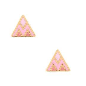 18kt Gold Plated Triangle Stud Earrings - Pink,