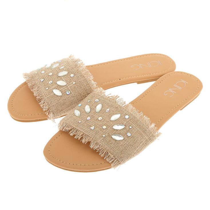 Linen Gem Slide Sandals - Nude,