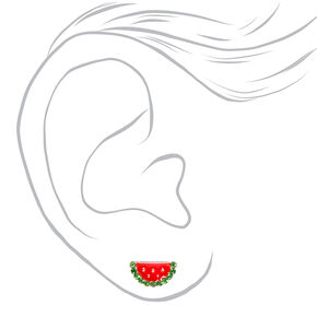 Silver Watermelon Slice Stud Earrings,