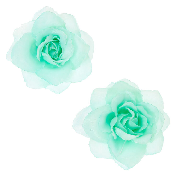 Mint Chiffon Flower Set of 2 Hair Clips,