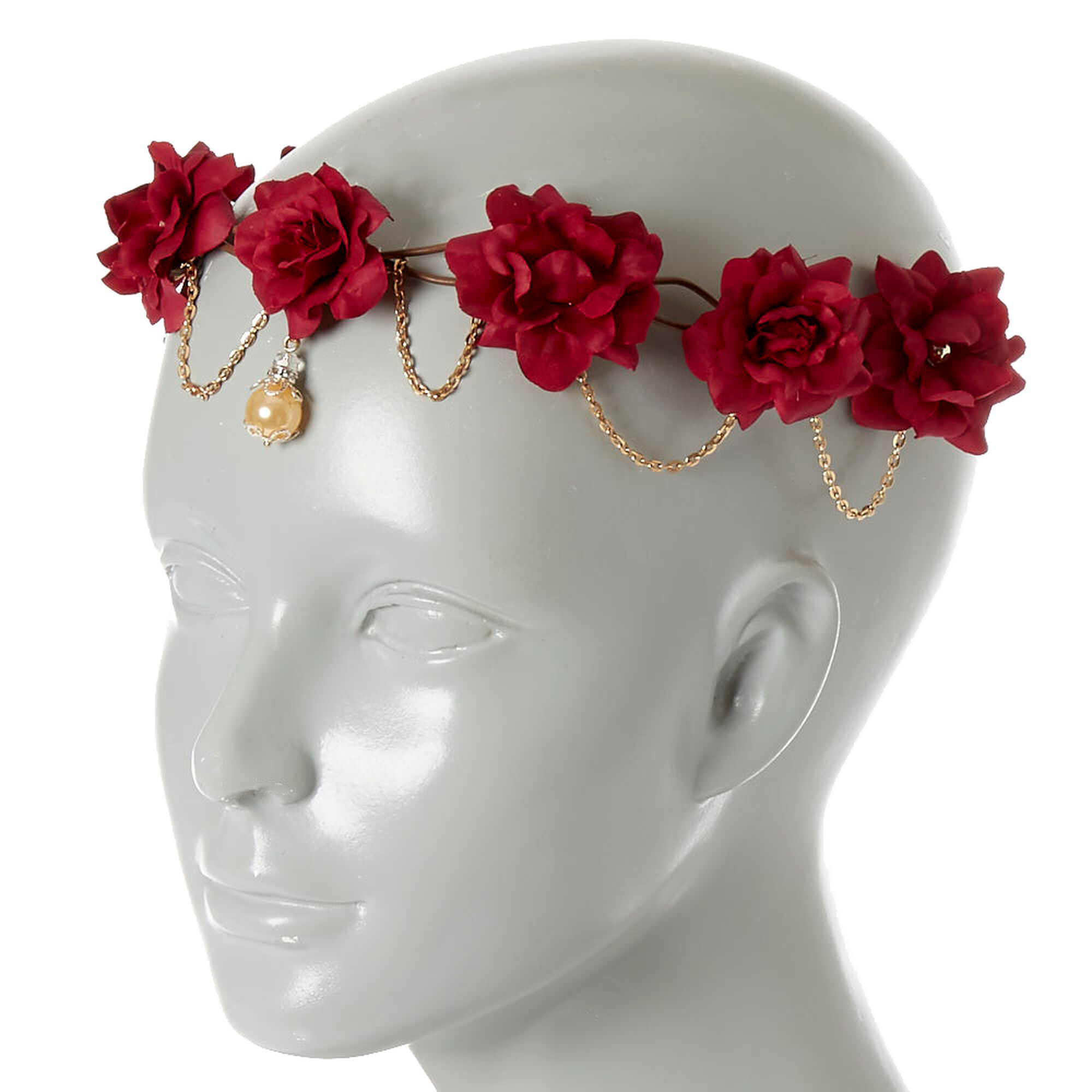 Gold chain burgundy flower crown headwrap icing us gold chain burgundy flower crown headwrap izmirmasajfo