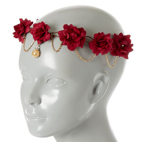 Gold Chain Burgundy Flower Crown Headwrap,