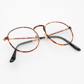 Tortoiseshell Round Clear Lens Frames - Brown,