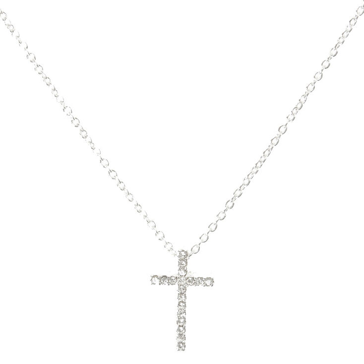 Silver Crystal Cross Necklace,