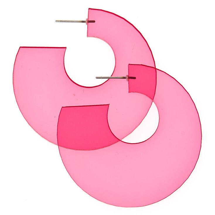 Clear Pink Half Hoop Earrings,