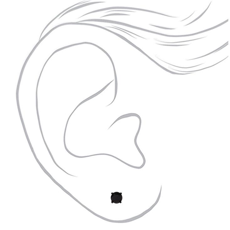Black Cubic Zirconia Round Stud Earrings - 4MM, 5MM, 6MM,