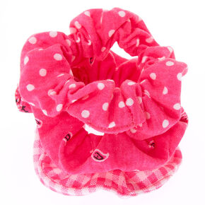 Bandana Print Mix Hair Scrunchies - Neon Pink, 3 Pack,