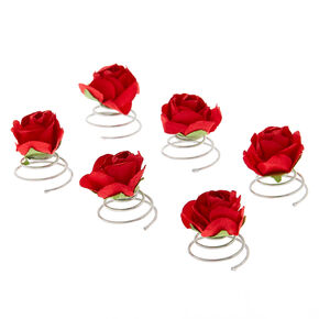 Rose Hair Spinners - Red, 6 Pack,